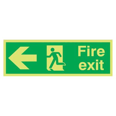 NITE GLO Fire Exit Running Man with Arrow - Left - 150 x 450mm - Rigid Plastic)