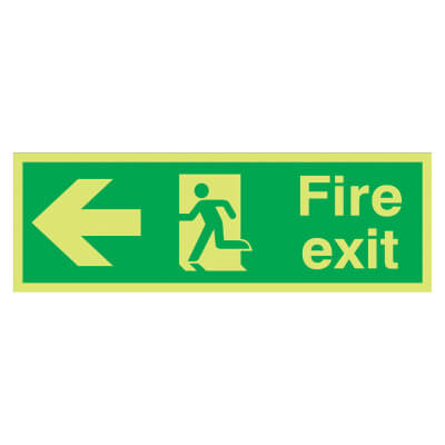 NITE GLO Fire Exit Running Man with Arrow - Left - 150 x 450mm - Rigid Plastic)