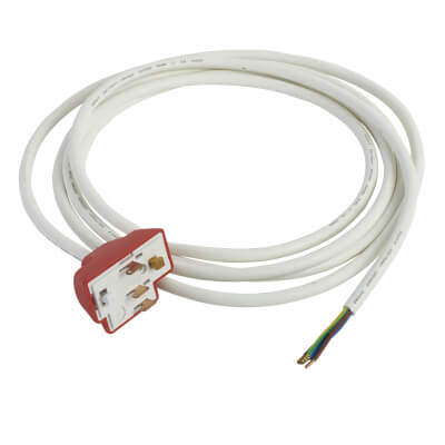 Hager Klik 6A 3 Terminals 4 Pin Plug with 3000mm Lead - Red)