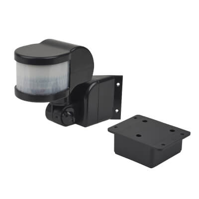 270° PIR Sensor with Corner Bracket - Black)