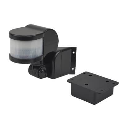 270° PIR Sensor with Corner Bracket - Black