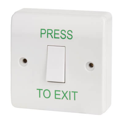 Egress Button - Press To Exit - 85 x 85mm - White)