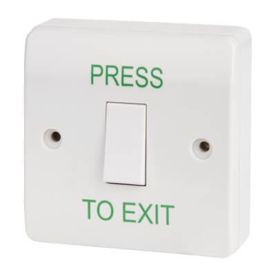 Egress Button - Press To Exit - 85 x 85mm - White)