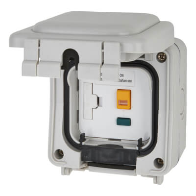 Hamilton Elemento 13A IP56 30mA RCD Weatherproof Switched Spur - Grey)
