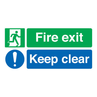 Fire Exit Keep Clear - 150 x 450mm - Rigid Plastic)