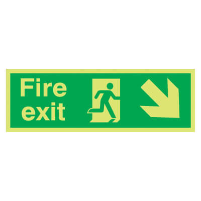 NITE GLO Fire Exit Running Man with Arrow - Down Right - 150 x 450mm - Rigid Plastic)