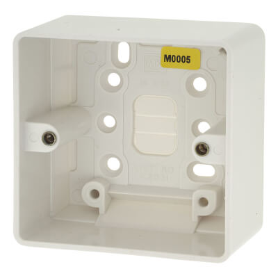 MK 1 Gang Moulded Surface Pattress Box with Earth Terminal - 44mm - White)