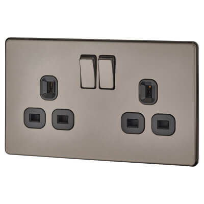 BG 13A 2 Gang Screwless Flatplate Switched Socket - Black Nickel with Black Insert)