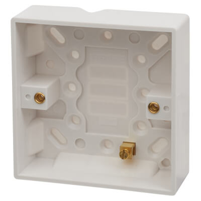 Contactum 1 Gang Surface Pattress Box with Earth Terminal - 25mm  - White)