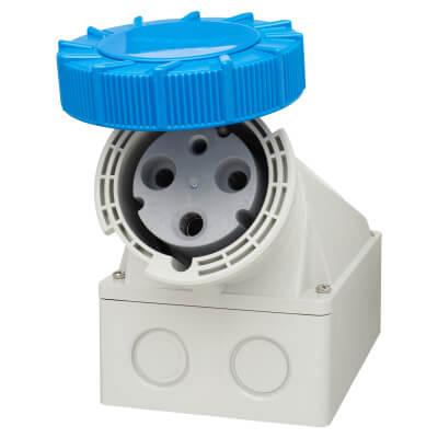 63A 3 Pin Surface Angle Socket - Blue)