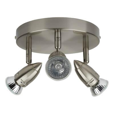 50W GU10 Circular Spotlight - 3 Light - Bright Nickel)