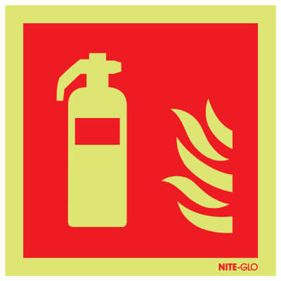NITE GLO Fire Extinguisher Symbol - 200 x 200mm - Rigid Plastic)
