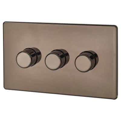 BG Screwless Flatplate 400W 3 Gang 2 Way Dimmer Switch - Black Nickel)