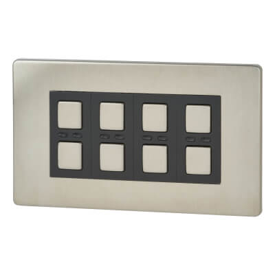LightwaveRF 4 Gang Smart Dimmer Switch - Stainless Steel)