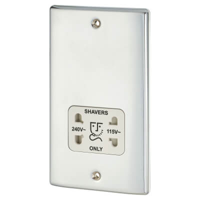 BG 115V / 240V Dual Voltage Shaver Socket - Polished Chrome)
