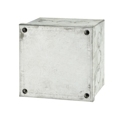 Adaptable Back Box with Knockouts - 76mm- Galvanised)