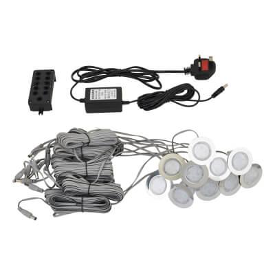 0.5W 42mm White LED Decking Kit - Stainless Steel - Pack 10