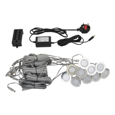 0.5W 42mm White LED Decking Kit - Stainless Steel - Pack 10)