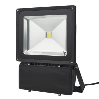 80W 6000K LED Slim Floodlight - Black)