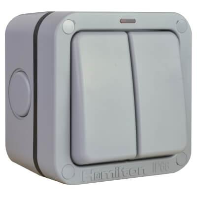 Hamilton Elemento 13A IP66 2 Gang 2 Way Weatherproof Switch - Grey)