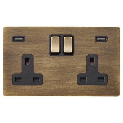Hamilton 13A 2 Gang Switched Socket x 2 USBs  - 3.1A - Antique Brass with Black Inserts)