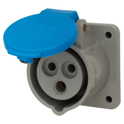16A 2 Pin and Earth Panel Socket - Blue)