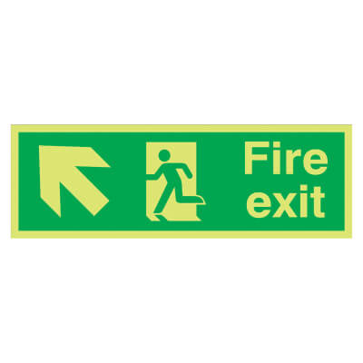 Fire Exit Running Man with Arrow - Up Left - 150 x 450mm)