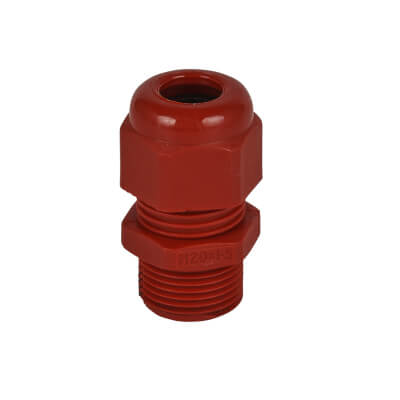 M20 Nylon Dome Top Gland 6mm-12mm - Red - Pack 10)
