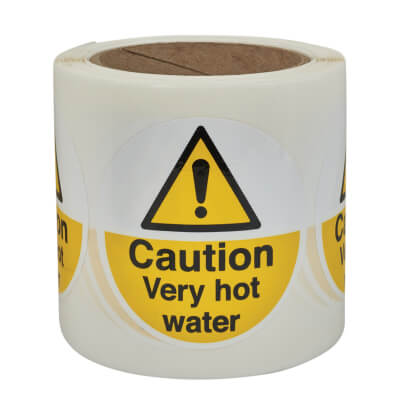 Caution Very Hot Water - Self-Adhesive Vinyl Label - 80 x 80mm)