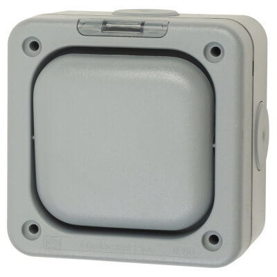 MK Masterseal Plus 10A IP66 1 Gang 2 Way Outdoor Switch - Grey)