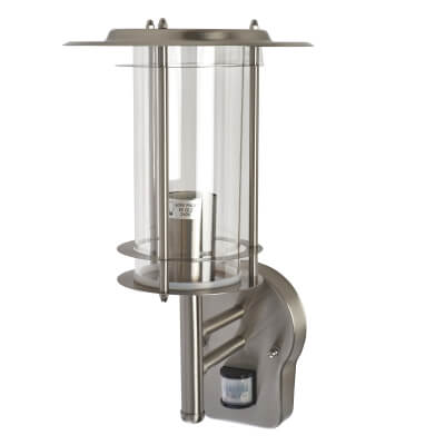 Saxby 60W Up Lantern with PIR - Stainless Steel)