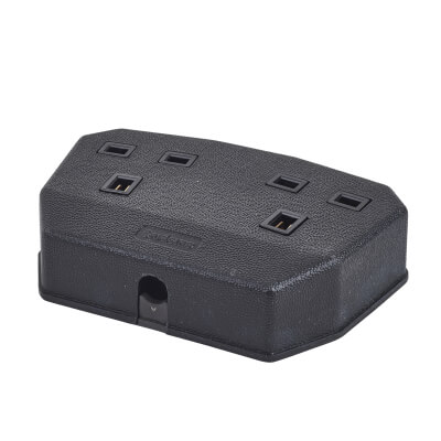MK Duraplug 13A 2 Gang Trailing Socket - Black)