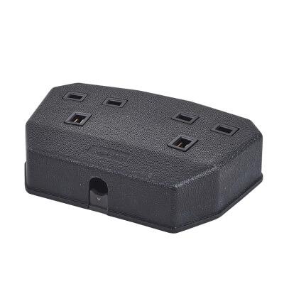 MK Duraplug 13A 2 Gang Trailing Socket - Black)