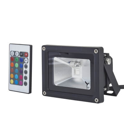 10W 6000K LED Square Floodlight with RGB - Black