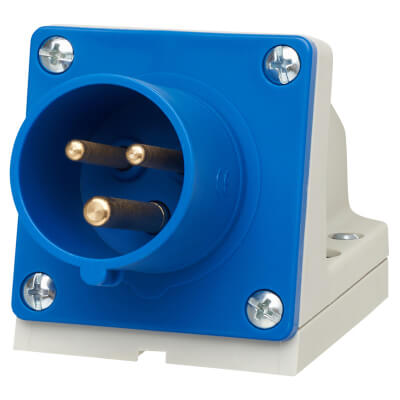 Lewden 16A 2 Pin and Earth Appliance Inlet - Blue)