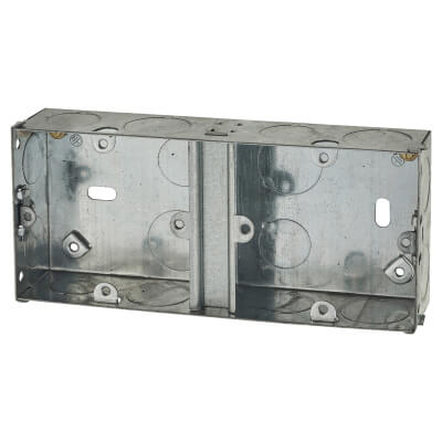 1+1 Gang Dual Knockout Box - 35mm - Galvanised)