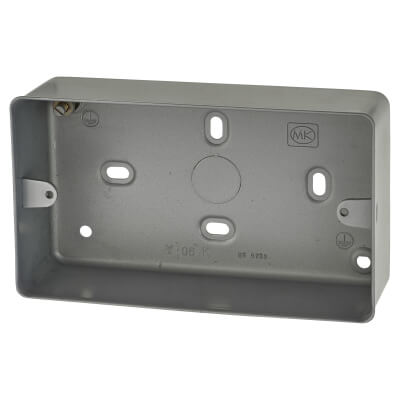 MK 2 Gang Metal Back Box without Knock Out - 41mm - Grey)