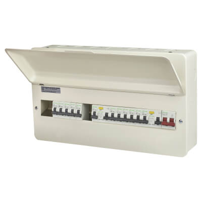 Danson 16 Way 100A Dual Split Load Metal Consumer Unit with 12 MCBs - Fully Loaded)