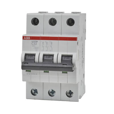 ABB 32A 10kA Triple Pole 3 Phase MCB - Type C)