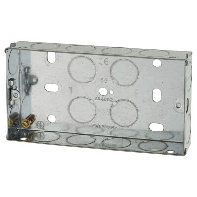 2 Gang Knockout Back Box - 25mm - Galvanised)