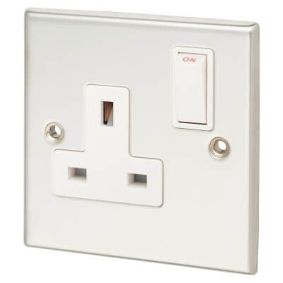 Contactum 13A 1 Gang Double Pole Switched Socket - Polished Steel with White Insert)
