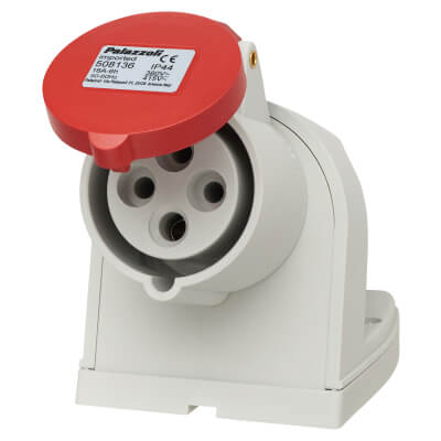 16A 3 Pin and Earth Surface Socket - Red)