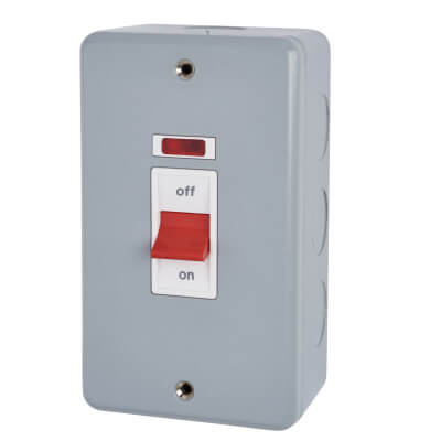 MK 50A 2 Gang Double Pole Metalclad Cooker Switch with Neon - Grey)