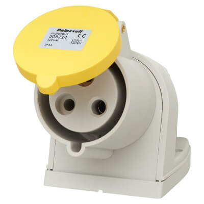 32A 2 Pin and Earth Surface Socket - Yellow)