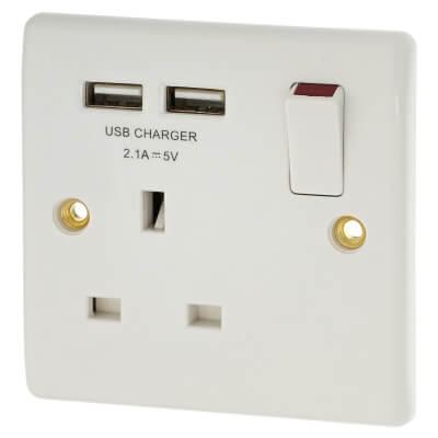 BG 1 Gang Socket with 2 x USB - White