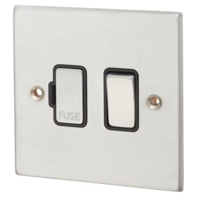 1 Gang 13A Double Pole Fused Spur  -  Satin Chrome with Black Inserts)