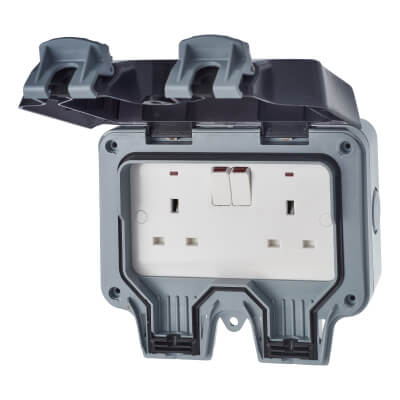 BG 13A IP66 2 Gang Weatherproof Switched Socket Outlet - Grey)