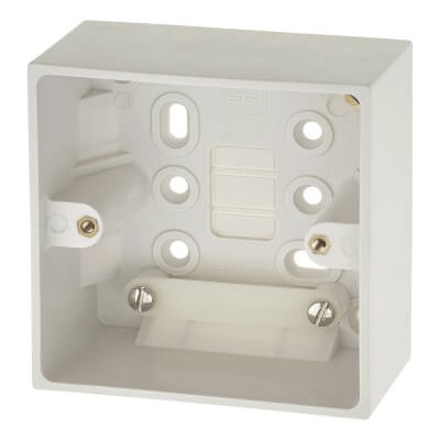 BG 1 Gang Square Surface Pattress Box - 45mm - White)
