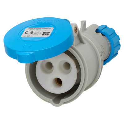 Lewden 16A 2 Pin and Earth Trailing Socket - Blue)