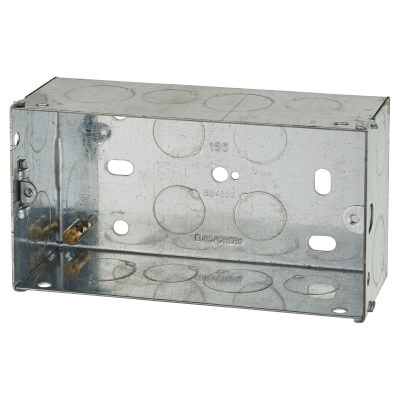 2 Gang Knockout Back Box - 47mm - Galvanised)